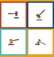 Flat icon hammer set of hammer legal tribunal vector image