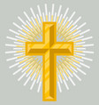 golden crucifix icon isolated vector image