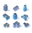 isometric business city center buildings set vector image