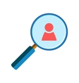 Magnifying glass with person icon vector image