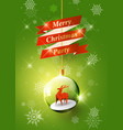 merry christmas with reindeer in christmas ball vector image
