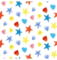 Seamless pattern with stars and hearts vector image