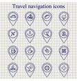 Travel navigation ink icons set vector image