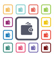 wallet flat icons set vector image