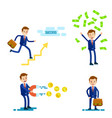 successful businessman character set vector image