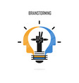 creative light bulbpencils and human heads logo vector image vector image