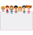 Happy smiling group of kids showing blank placard vector image