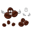 Happy brown coffee beans character vector image vector image