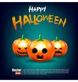Happy halloween calligraphy and pumkin on dark vector image