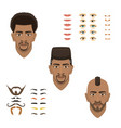 man face emotions constructor parts eyes nose vector image