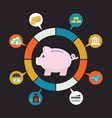 Piggy bank money and finance savings and vector image