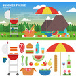 summer picnic in the mountains vector image