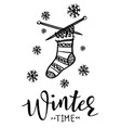 winter time poster template with sock vector image