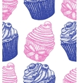 hand drawn berry cupcake background vector image