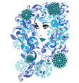 Winter Girl with Floral8 vector image
