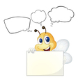 A bee holding a white board vector image vector image