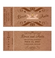 Ticket for Wedding Invitation with swans and rings vector image