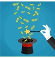 Money out the hat magic trick concept vector image