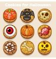 Cartoon Cute funny Halloween Cookies vector image