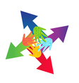 Arrows and painted hands logo vector image