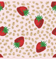 seamless pattern with strawberry and oat flakes vector image