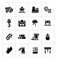 Set icons of metallurgy vector image