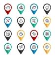 Travel navigation icons set vector image