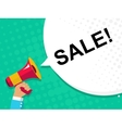 Hand holding megaphone with SALE announcement vector image