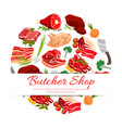 Butcher shop meat products poster for food design vector image