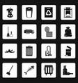 garbage thing icons set squares vector image