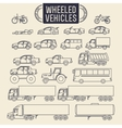 Wheeled vehicles icons vector image
