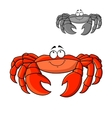 Cartoon smiling red crab with big claws vector image vector image
