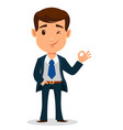 business man cartoon character in smart clothes vector image