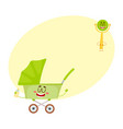 Funny baby cart stroller buggy and rattle vector image