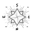 Hipster style vintage compass with starbursts ray vector image