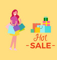 hot sale woman with bags vector image