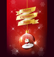merry christmas with santa claus in christmas ball vector image