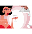 The woman at restaurant drinks wine vector image