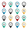 Travel navigation icons set vector image