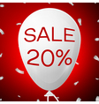 White Baloon with text Sale 20 percent Discounts vector image