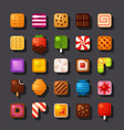 square shaped dessert icon set vector image