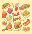 fast food hand drawn doodle with burger and fries vector image vector image