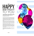birthday card with color balloons and text vector image