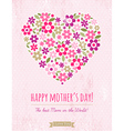 Mothers Day card with heart of spring flowers vector image