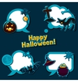 Happy halloween speech bubbles with stickers vector image