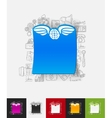 angel paper sticker with hand drawn elements vector image