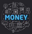 black line flat circle money vector image