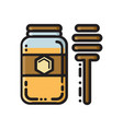 honey jar and dipper thin line flat style icon vector image