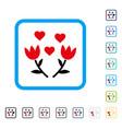 lovely tulip flowers framed icon vector image