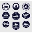 Sailboats travel labels icons set vector image